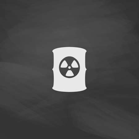 radioactive waste: Radioactive waste Simple vector button. Imitation draw icon with white chalk on blackboard. Flat Pictogram and School board background. Illustration symbol Illustration