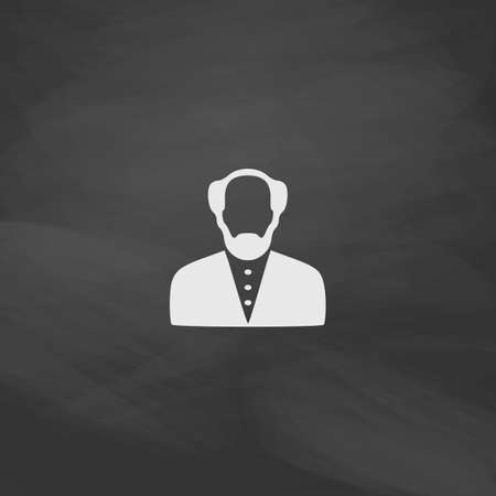 bald man: Bald Man Simple vector button. Imitation draw icon with white chalk on blackboard. Flat Pictogram and School board background. Illustration symbol
