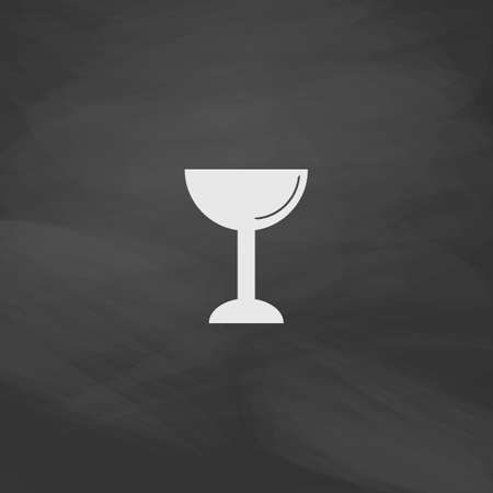 grail: chalice Simple vector button. Imitation draw icon with white chalk on blackboard. Flat Pictogram and School board background. Illustration symbol
