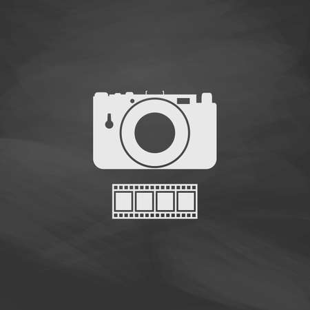 journalistic: Camera Simple vector button. Imitation draw icon with white chalk on blackboard. Flat Pictogram and School board background. Illustration symbol