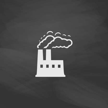 industry background: power plant Simple vector button. Imitation draw icon with white chalk on blackboard. Flat Pictogram and School board background. Illustration symbol