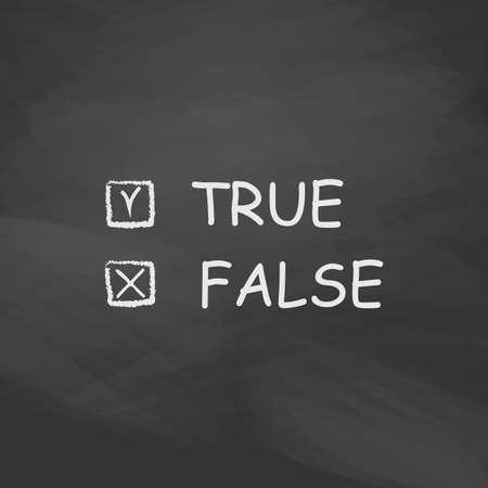 validez: Botón simple del vector verdadero y falso. icono de la imitación empate con tiza blanca en la pizarra. Pictograma plano y fondo de la tarjeta de la escuela. ilustración de símbolo Vectores