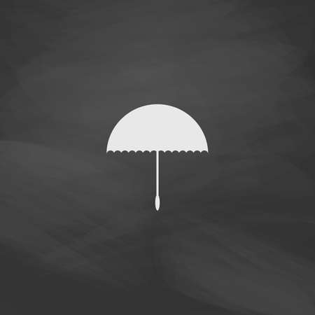 brolly: bumbershoot Simple vector button. Imitation draw icon with white chalk on blackboard. Flat Pictogram and School board background. Illustration symbol Illustration