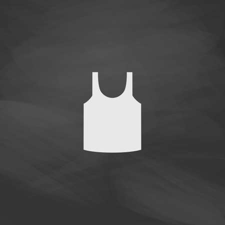 white singlet: singlet Simple vector button. Imitation draw icon with white chalk on blackboard. Flat Pictogram and School board background. Illustration symbol