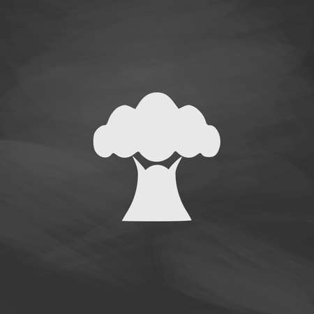 crooked: Baobab Simple vector button. Imitation draw icon with white chalk on blackboard. Flat Pictogram and School board background. Illustration symbol