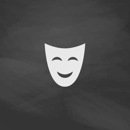 comedy mask: comedy mask Simple vector button. Imitation draw icon with white chalk on blackboard. Flat Pictogram and School board background. Illustration symbol