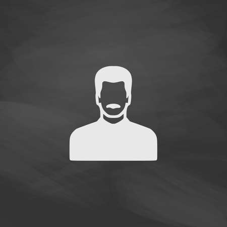 mustached: mustached man Simple vector button. Imitation draw icon with white chalk on blackboard. Flat Pictogram and School board background. Illustration symbol Illustration