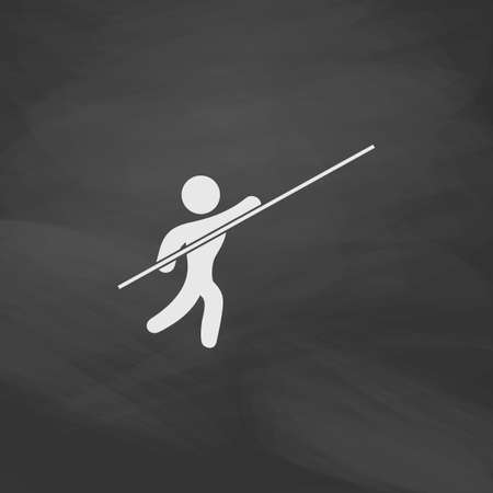 pole vault: Pole vault Simple vector button. Imitation draw icon with white chalk on blackboard. Flat Pictogram and School board background. Illustration symbol Illustration