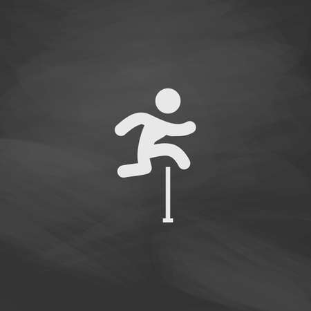 steeplechase: Steeplechase Simple vector button. Imitation draw icon with white chalk on blackboard. Flat Pictogram and School board background. Illustration symbol