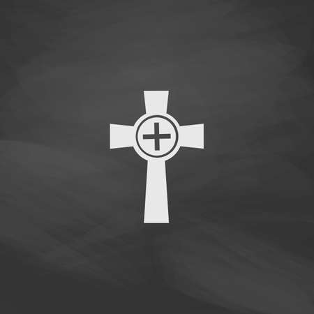 monasteries: Tombstone Simple vector button. Imitation draw icon with white chalk on blackboard. Flat Pictogram and School board background. Illustration symbol Illustration