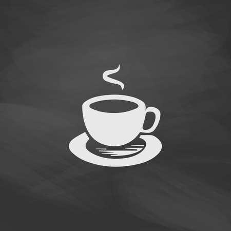 turkish dessert: Hot coffe Simple vector button. Imitation draw icon with white chalk on blackboard. Flat Pictogram and School board background. Illustration symbol Illustration