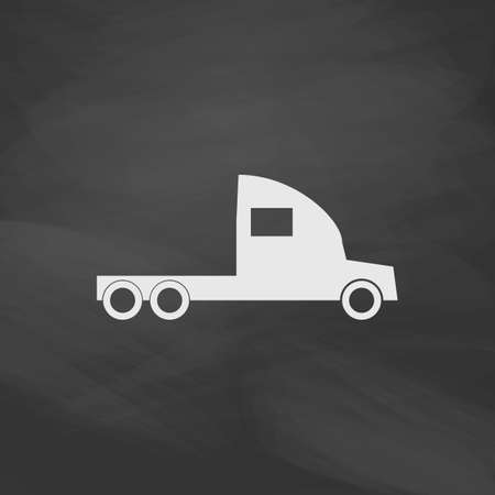 18 wheeler: cargo truck Simple vector button. Imitation draw icon with white chalk on blackboard. Flat Pictogram and School board background. Illustration symbol Illustration