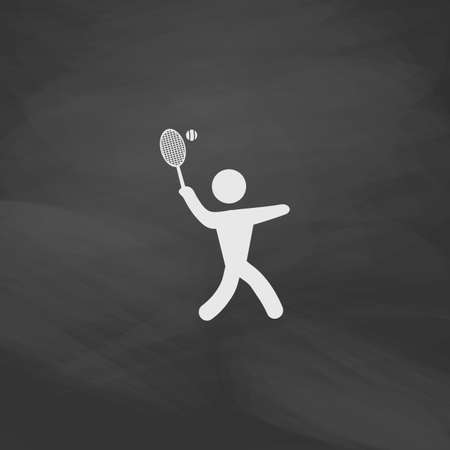 active content: tennis Simple vector button. Imitation draw icon with white chalk on blackboard. Flat Pictogram and School board background. Illustration symbol