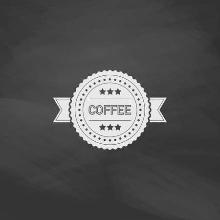 rounded: Coffee label Simple vector button. Imitation draw icon with white chalk on blackboard. Flat Pictogram and School board background. Illustration symbol