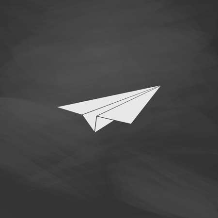 drawing paper: Paper Plane Simple vector button. Imitation draw icon with white chalk on blackboard. Flat Pictogram and School board background. Illustration symbol