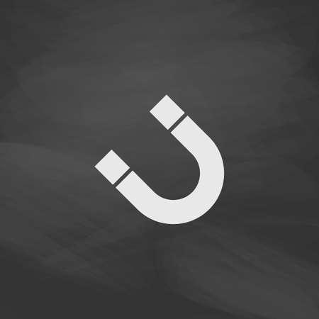 magnetismo: magnetismo vettore pulsante Semplice. Icona pareggio imitazione con il gesso bianco sulla lavagna. Pittogramma di appartamenti e scuola board background. illustrazione simbolo Vettoriali