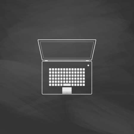 flatscreen: netbook Simple vector button. Imitation draw icon with white chalk on blackboard. Flat Pictogram and School board background. Illustration symbol