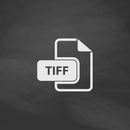 tiff: TIFF Simple vector button. Imitation draw icon with white chalk on blackboard. Flat Pictogram and School board background. Illustration symbol