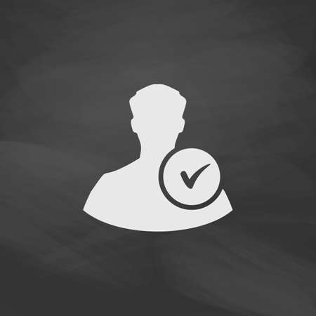 userpic: User Simple vector button. Imitation draw icon with white chalk on blackboard. Flat Pictogram and School board background. Illustration symbol