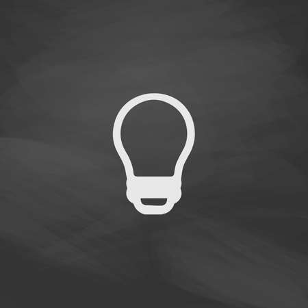 led bulb: Led Bulb Simple vector button. Imitation draw icon with white chalk on blackboard. Flat Pictogram and School board background. Illustration symbol