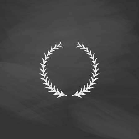 laureate: laureate wreath Simple vector button. Imitation draw icon with white chalk on blackboard. Flat Pictogram and School board background. Illustration symbol