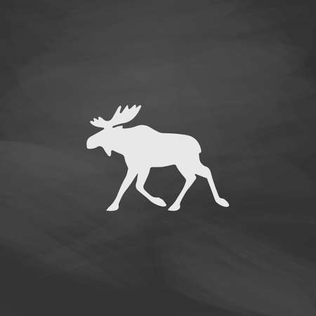 moose symbol: Moose Simple vector button. Imitation draw icon with white chalk on blackboard. Flat Pictogram and School board background. Illustration symbol Illustration