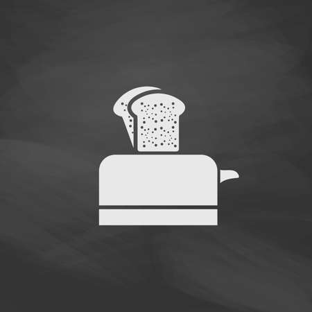luncheon: Toaster Simple vector button. Imitation draw icon with white chalk on blackboard. Flat Pictogram and School board background. Illustration symbol