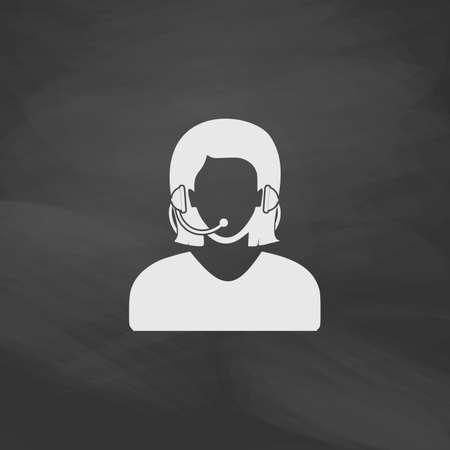 téléphoniste bouton simple vecteur. Imitation icône de tirage à la craie blanche sur le tableau noir. Pictogram Flat and School board background. symbole Illustration Vecteurs