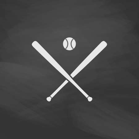 pitching: baseball Simple vector button. Imitation draw icon with white chalk on blackboard. Flat Pictogram and School board background. Illustration symbol