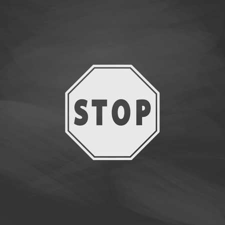 traffic ticket: Vector Stop sign Icon Simple vector button. Imitation draw icon with white chalk on blackboard. Flat Pictogram and School board background. Illustration symbol