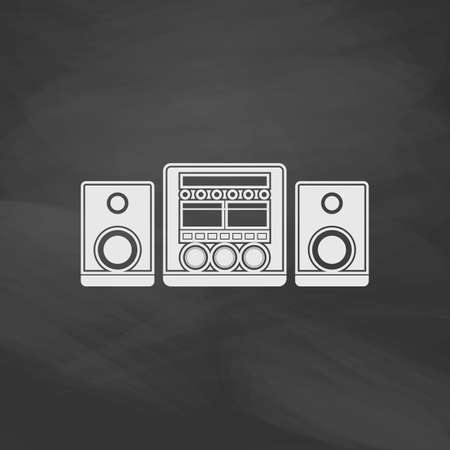 sound system: Sound System Simple vector button. Imitation draw icon with white chalk on blackboard. Flat Pictogram and School board background. Illustration symbol
