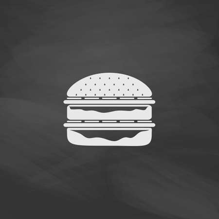 simplistic icon: hamburger Simple vector button. Imitation draw icon with white chalk on blackboard. Flat Pictogram and School board background. Illustration symbol