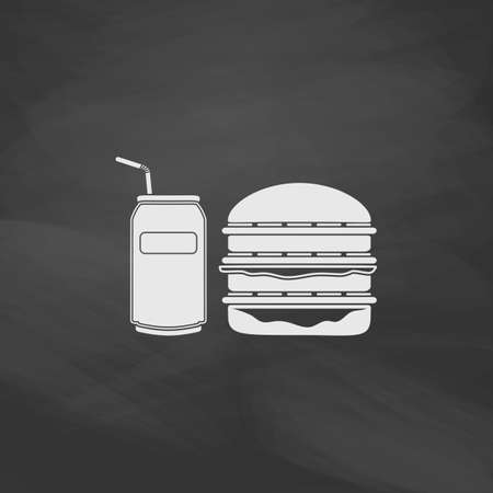 drink coffee: fast food Simple vector button. Imitation draw icon with white chalk on blackboard. Flat Pictogram and School board background. Illustration symbol