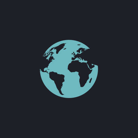 earth color: earth Color vector icon on dark background