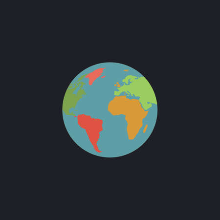 earth color: Globe earth Color vector icon on dark background