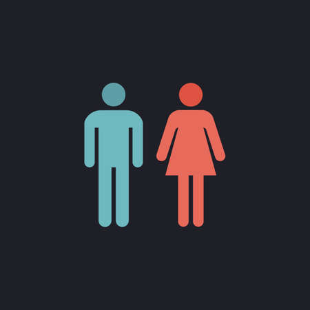 man and woman Color vector icon on dark background