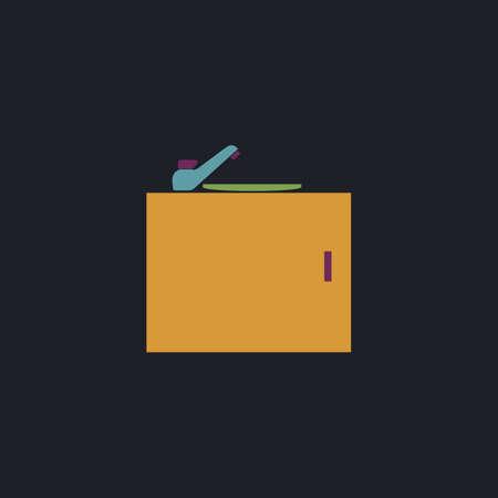 washstand: sink Color vector icon on dark background Illustration