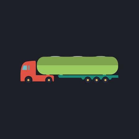 fuel truck: Fuel Truck Color vector icon on dark background