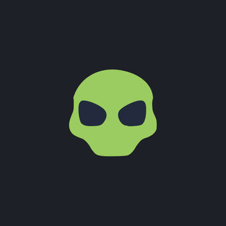 space invader: Alien Head Color vector icon on dark background