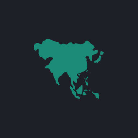 equator: Asia Color vector icon on dark background Illustration
