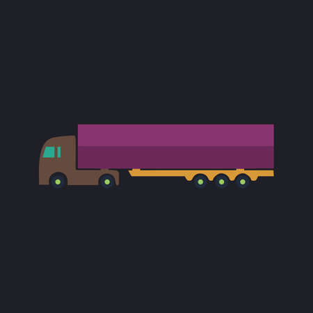 truckload: Big Truck Color vector icon on dark background Illustration