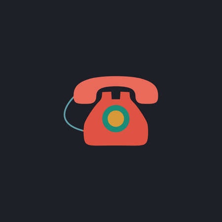 old telephone: old telephone Color vector icon on dark background