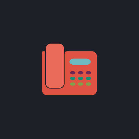 parley: Office Phone Color vector icon on dark background