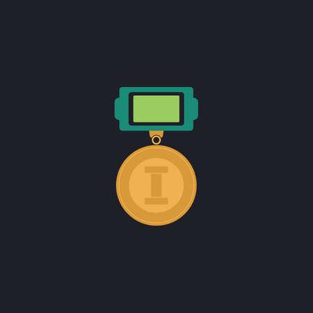 award background: award Color vector icon on dark background