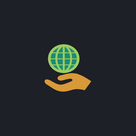 earth color: save earth Color vector icon on dark background