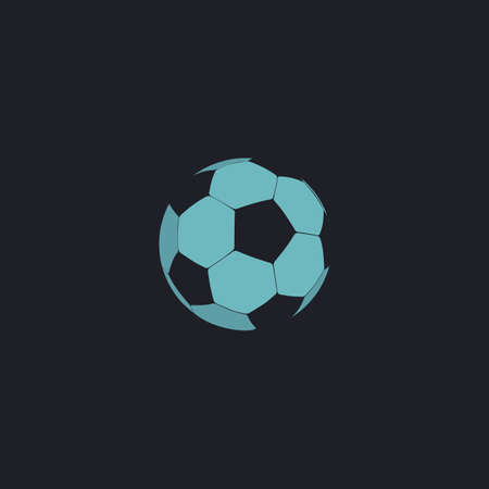 competitive sport: Soccer ball Color vector icon on dark background