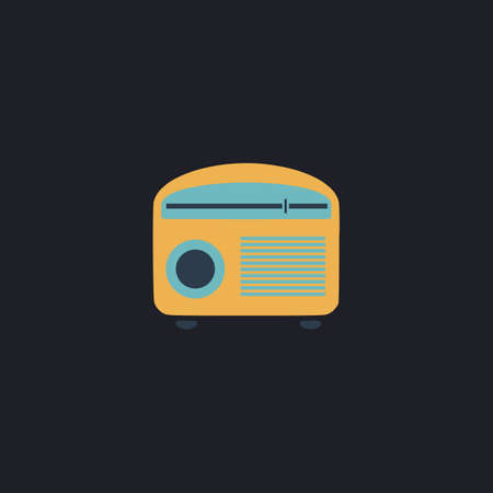 retro radio: retro radio Color vector icon on dark background