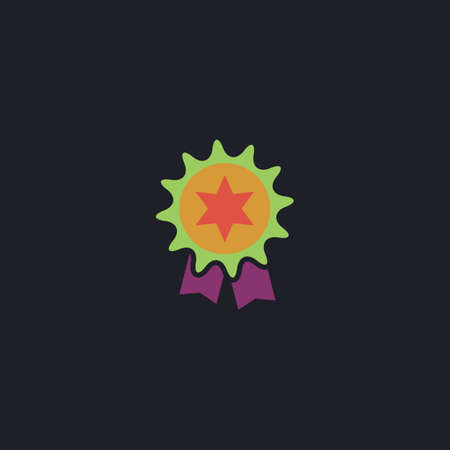 merit: Award Color vector icon on dark background Illustration
