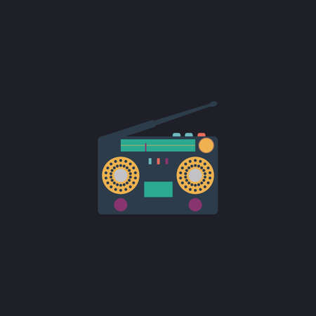 boombox: boombox Color vector icon on dark background