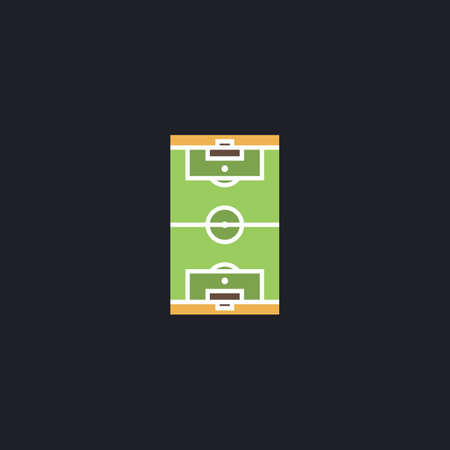 photo realism: football field Color vector icon on dark background Illustration